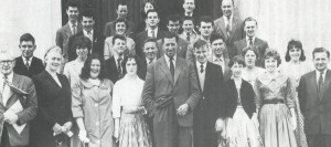 Mr Donald Davies, Chairman (centre) with recipients of the Junior Group Leader Certificate. Swansea-A.G.M., 1957.